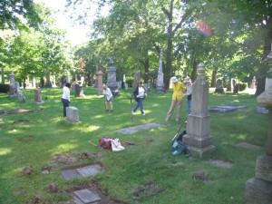 Transcribers in St James Cemetery