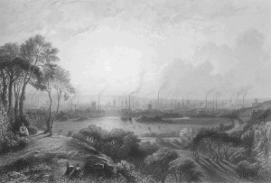 Engraving of Manchester 1840