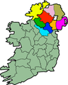 Map of Ireland highlighting 9 counties of Ulster