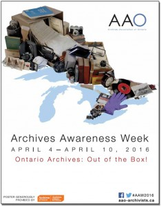 Archives of Ontario poster for Archives Awareness Week 2016