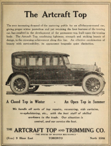"""Ad for the """"Artcraft Top"""" for motor vehicles - """"a closed top in winter - an open top in summer"""""""