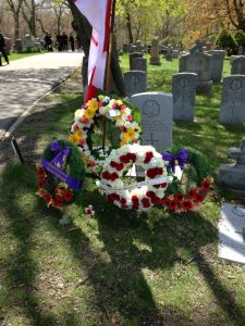 Wreaths and Canadian flag at headstone