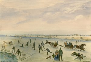 Painting of skaters and sleighs on ice at Toronto waterfront
