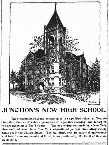 Newspaper clipping with drawing of new school