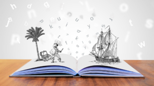 open book with 3-D palm tree and sailing ship