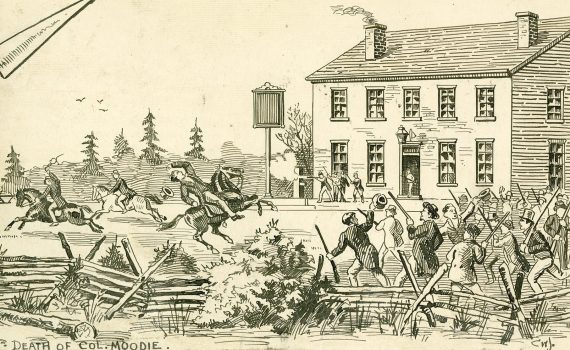 Drawing of armed gathering at Montgomery's Tavern