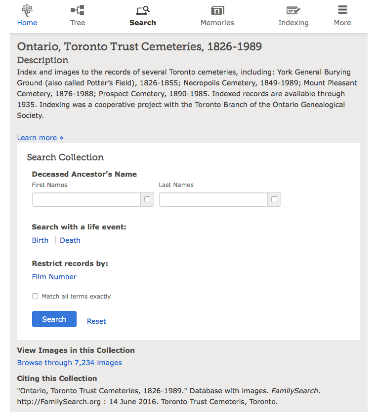 Screen shot of the search page.