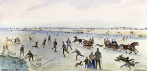Watercolour painting of skaters at Toronto waterfront