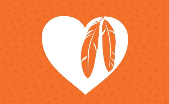 graphic of heart and feathers on orange background